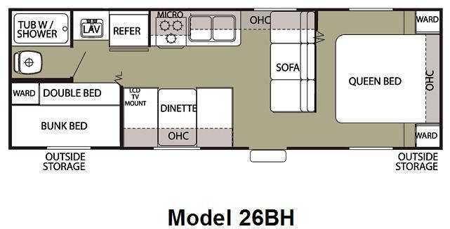 Floorplan - 2010 Forest River RV Cherokee Grey Wolf 26BH