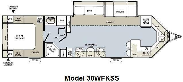 Floorplan - 2010 Forest River RV Flagstaff V-Lite 30WFKSS