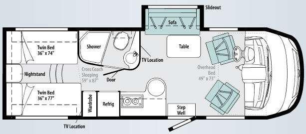 Floorplan - 2010 Itasca Reyo 25T