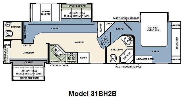 Floorplan - 2010 Forest River RV Wildcat 31BH2B