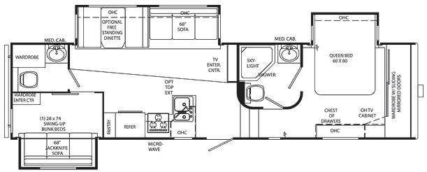 Floorplan - 2011 Holiday Rambler Savoy LX 31 BHT