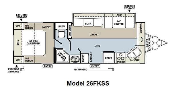 Floorplan - 2011 Forest River RV Flagstaff Super Lite 26FKSS