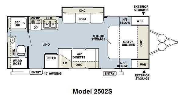 Floorplan - 2011 Forest River RV Rockwood Mini Lite 2502S