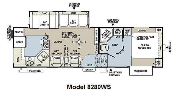 Floorplan - 2011 Forest River RV Rockwood Signature Ultra Lite 8280WS
