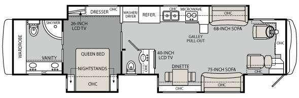 Floorplan - 2011 Holiday Rambler Endeavor 43 DFT