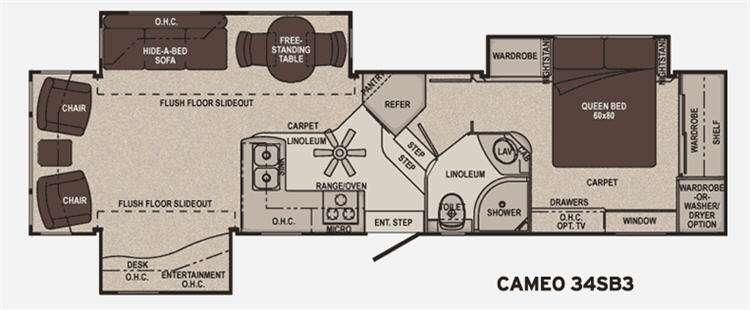 Floorplan - 2011 Carriage Cameo 34SB3