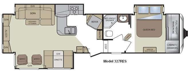 Floorplan - 2011 Keystone RV Cougar 327RES