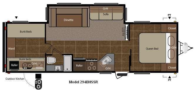 Floorplan - 2011 Keystone RV Springdale 294BHSSR