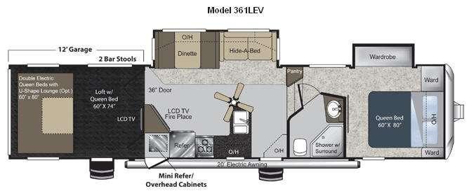 Floorplan - 2011 Keystone RV Raptor 361LEV