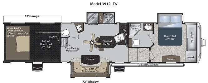 Floorplan - 2011 Keystone RV Raptor 3912LEV