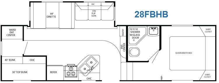 Floorplan - 2011 Gulf Stream RV Mako 28 FBHB