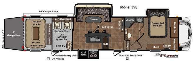 Floorplan - 2011 Keystone RV Fuzion 398