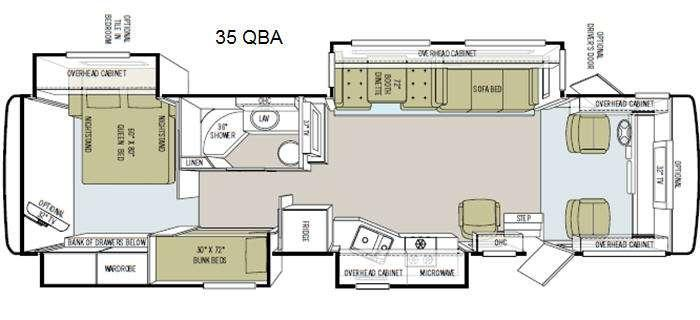Floorplan - 2011 Tiffin Motorhomes Allegro 35 QBA