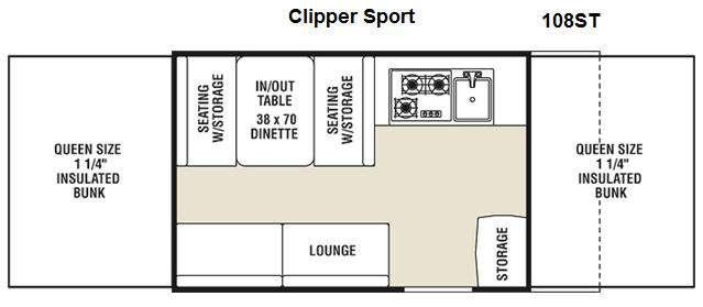 Floorplan - 2011 Coachmen RV Clipper Sport 108ST