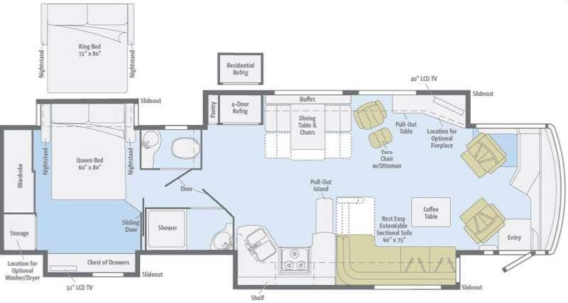 Floorplan - 2011 Winnebago Journey 40U