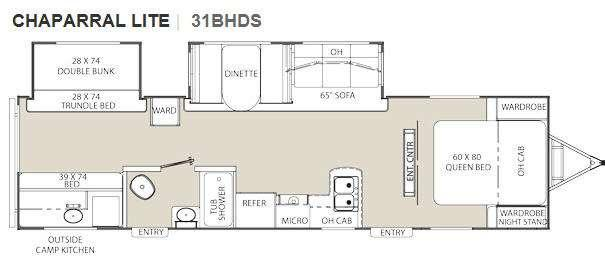 Floorplan - 2011 Coachmen RV Chaparral Lite 31BHDS