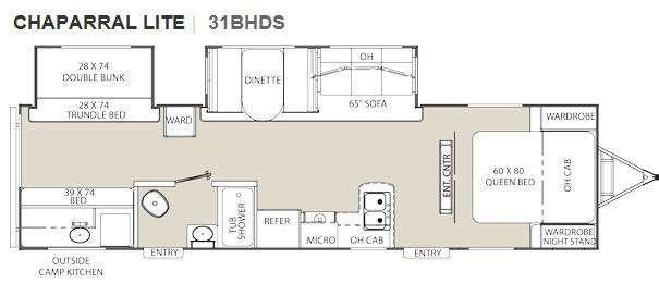 Floorplan - 2011 Coachmen RV Chaparral Lite 31BHDS