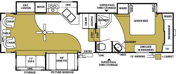 Floorplan - 2006 Forest River RV Sandpiper 335 RLT