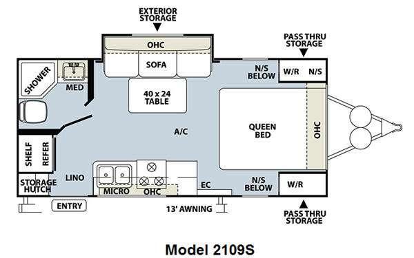 Floorplan - 2011 Forest River RV Rockwood Mini Lite 2109S