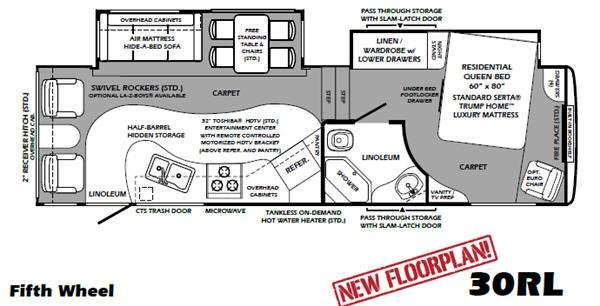 Floorplan - 2011 Forest River RV Wildcat Sterling Edition 30RL