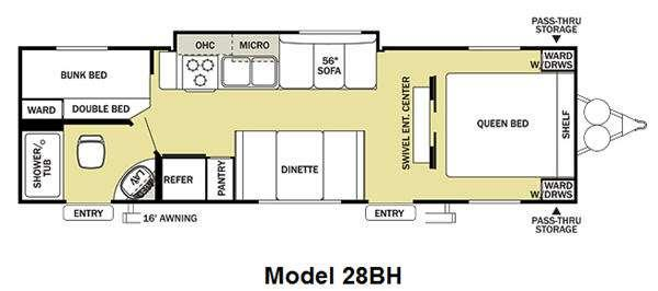 Floorplan - 2012 Forest River RV Salem Cruise Lite 28BH