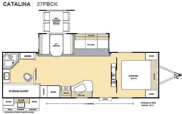 Floorplan - 2012 Coachmen RV Catalina 27FBCK