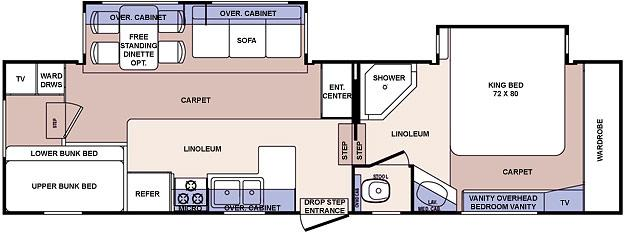 Floorplan - 2006 Forest River RV Cardinal LE 312BHLE