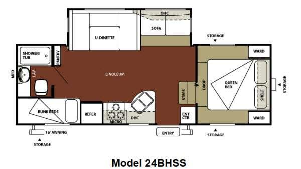 Floorplan - 2012 Forest River RV Wildwood 24BHSS