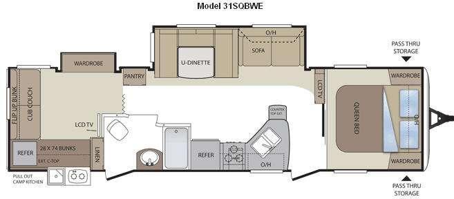 Floorplan - 2012 Keystone RV Cougar 31SQBWE