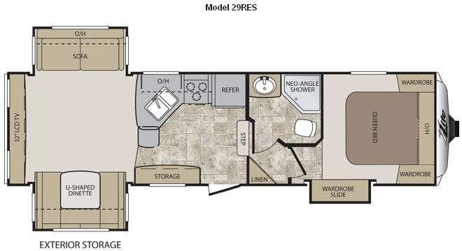 Floorplan - 2012 Keystone RV Cougar X-Lite 29RES