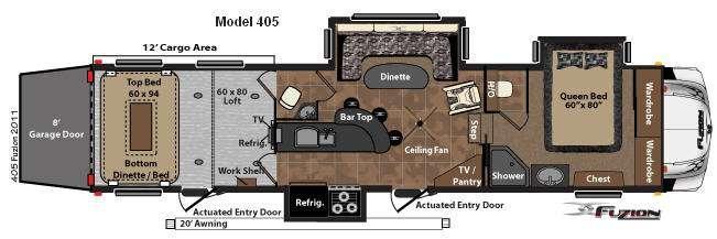 Floorplan - 2012 Keystone RV Fuzion 405