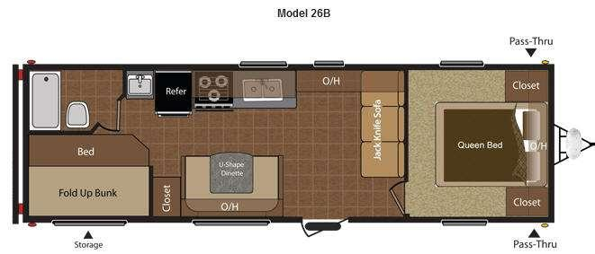 Floorplan - 2012 Keystone RV Hideout 26B