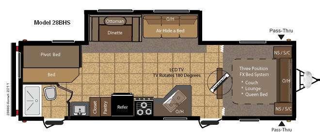 Floorplan - 2012 Keystone RV Hornet 28BHS