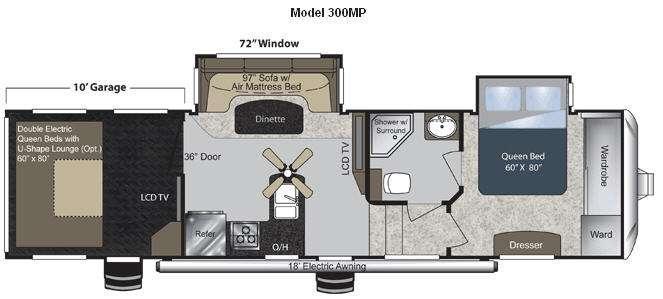 Floorplan - 2012 Keystone RV Raptor 300MP