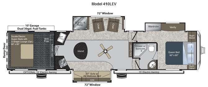 Floorplan - 2012 Keystone RV Raptor 410LEV