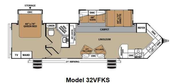 Floorplan - 2012 Forest River RV V-Cross Platinum 32VFKS