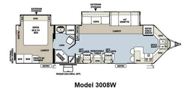 Floorplan - 2012 Forest River RV Rockwood Wind Jammer 3008W