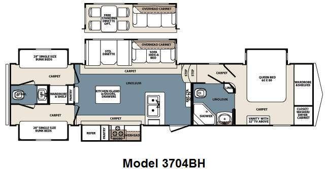 Floorplan - 2012 Blue Ridge 3704BH Fifth Wheel