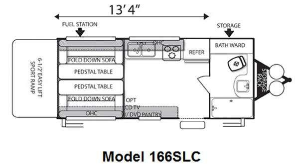 Floorplan - 2012 Forest River RV Sandstorm SLC 166 SLC