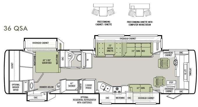 Floorplan - 2012 Tiffin Motorhomes Allegro RED 36 QSA
