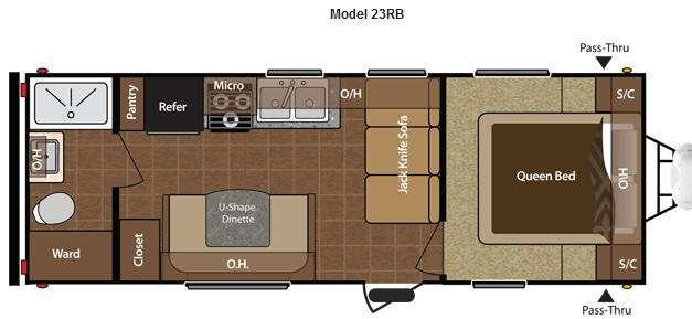 Floorplan - 2012 Keystone RV Hideout 23RB