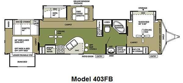 Floorplan - 2012 Wildwood Lodge 403FB Destination Trailer