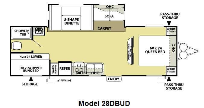 Floorplan - 2012 Forest River RV Wildwood 28DBUD