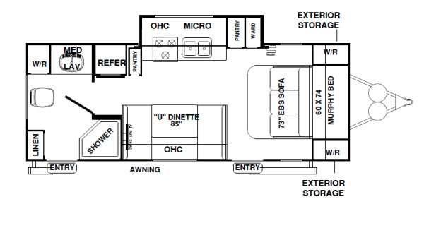 Floorplan - 2012 Forest River RV Rockwood Mini Lite 2503S