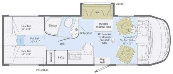 Floorplan - 2012 Itasca Reyo 25T