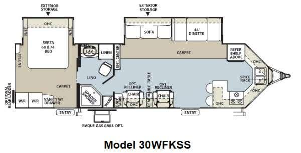 Floorplan - 2012 Forest River RV Flagstaff V-Lite 30WFKSS