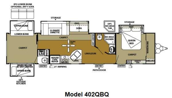 Floorplan - 2012 Forest River RV Wildwood DLX 402QBQ