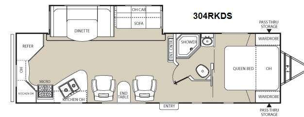 Floorplan - 2012 Coachmen RV Freedom Express 304RKDS
