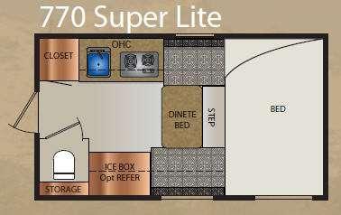 Floorplan - 2012 Travel Lite  Truck Campers 770 Super Lite Series