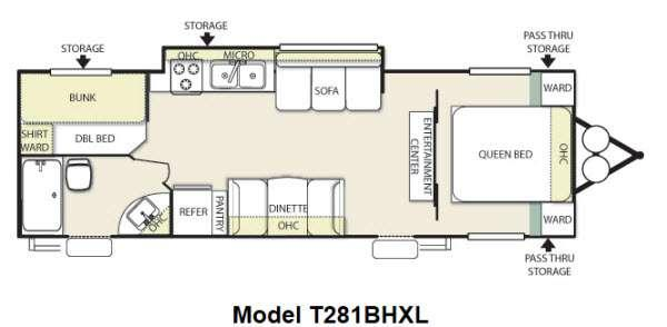 Floorplan - 2012 Forest River RV Wildwood X-Lite 281BHXL